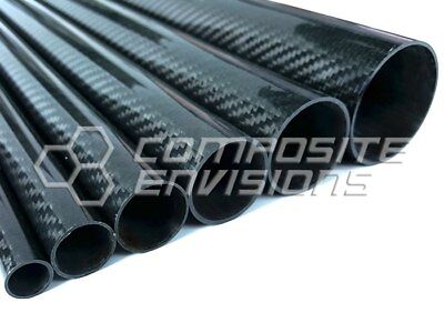 "Roll Wrapped Carbon Fiber Tube Twill Weave Gloss Finish - 1"" OD - 48"" long"