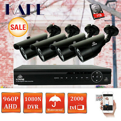 4CH HDMI 1080N DVR 960P HD Outdoor Waterproof Security CCTV Camera Systems 1TB