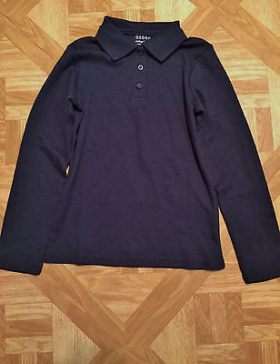George Girls School Navy Blue Long Sleeve Uniform Polo Shirt Size 4-5 XS