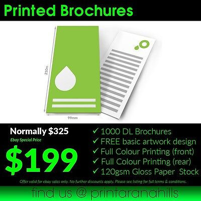1000 Print DL Brochures/Flyers (Full Colour Double Sided)  - 210x99mm - DL10002