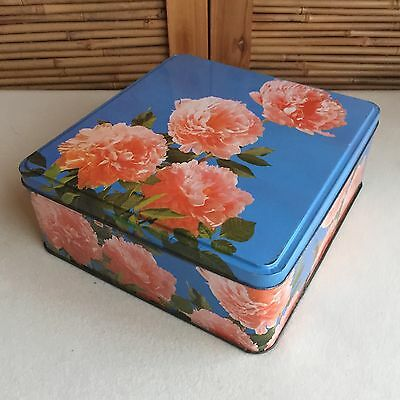 COLLECTABLE Vintage RETRO Blue PINK 'Peonies' FLOWERS Square BISCUIT Tin