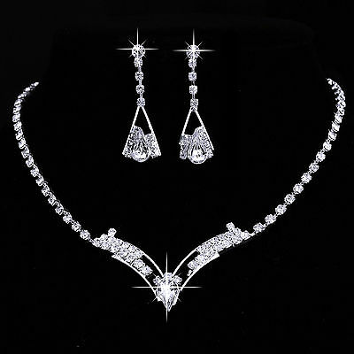 Crystal Silver V Design Necklace Earrings Set Bridesmaid Wedding Jewellery Sets