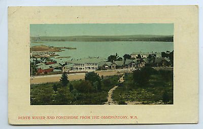 C1910 Pt Npu Postcard Perth Water And Foreshore From The Observatory Wa P98