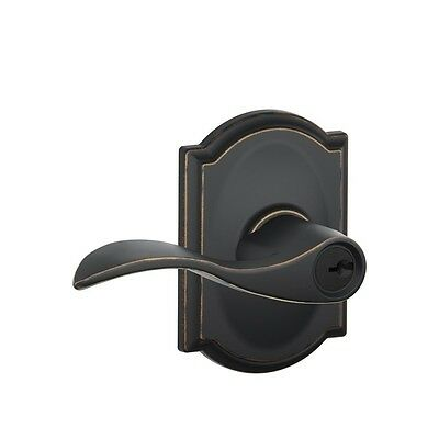 Schlage Camelot Collection Aged Bronze Accent Keyed Entry Lever F51A Acc 716 Cam