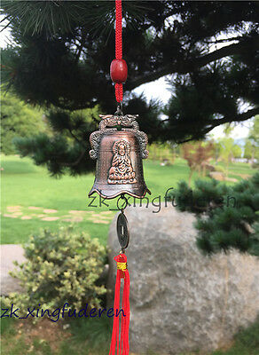 Old style chinese copper dragon guanyin bless courtyard Tassel metal bell