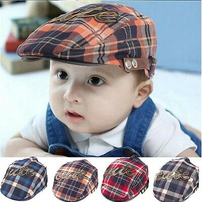 Baby Kids Girls Casquette Infant Flat Peaked Sun Hat Toddler Plaid Beret Boy Cap