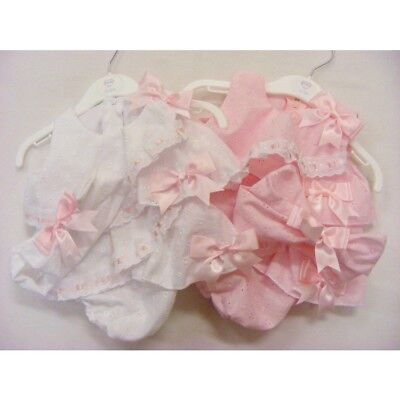NEW Baby Girls Romany Style Frilly Romper & Headband Set 0-12 month White / Pink