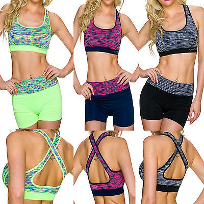 SportSet Sport BH + Hot Pant Funktions Top Shorts S 32 34 36 Fitness s Work out