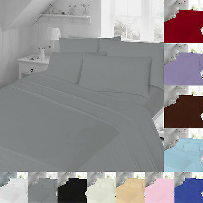 Egyptian Cotton Fitted Sheets Flat Sheets Double Super King Size Bedding Single
