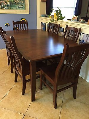 Fabulous Amish Cherry Wood Custom Made Dining Table And 6 Chairs Beutiful Home Inspiration Ommitmahrainfo