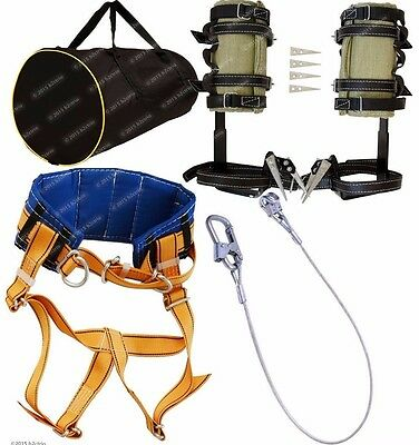 Tree Climbing Spikes Kit, Gaffs Spurs,Safety Belt, Safety Lanyard Metal,Gear Bag