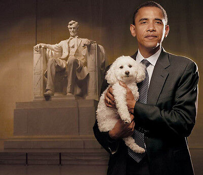 Barack Obama UNSIGNED photograph - 7158 - With his dog