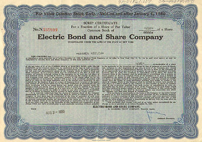 Electric Bond and Share Company   1933 New York share stock certificate