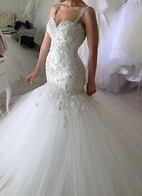 New Mermaid Wedding Dress Lace Tulle Bridal Gown Custom Size 6 8 10 12 14 16 +