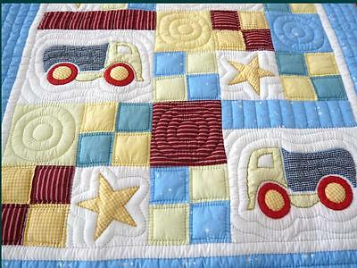 Brand new Lilypond Designs Hand Stitched baby Cot Quilt 100 x 120cm Trucks theme