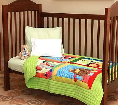Brand new Lilypond Designs Hand Stitched baby Cot Quilt 100 x 120cm JUNGLE theme