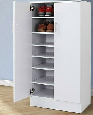 Shoe Cabinet Wooden Rack Cupboard 7 Shelves up to 30 Pairs of SHOES Storage BOX