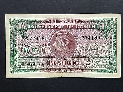 Cyprus 1 Shilling 1/- P20 Dated 30th August 1941 VF