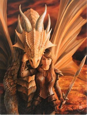 "Inner Strength Canvas Wall Plaque by Anne Stokes 10"" x 7.5"" Dragon"