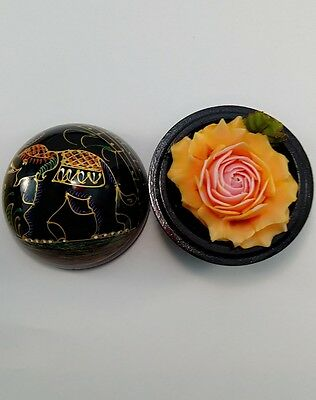 Soap carving soap flower scented soap carvings, wooden box decorated with roses