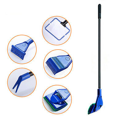 5 in 1 Glass Fish Tank Aquarium Glass Brush Cleaning Tool Fishnet Cleaner Kits