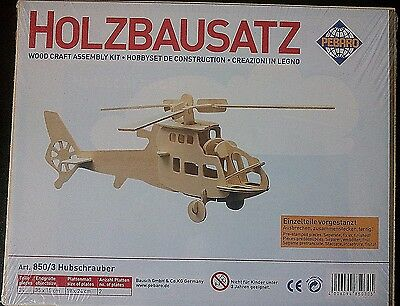 Wood Craft Assembly Kit Hobby Set Constructor Helicopter Made In Germany New 3D