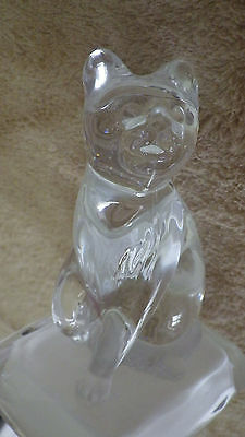 "Clear Glass Cat on Pillow ? Figure Figurine 5.5"" Tall Paperweight Top for Jar ?"