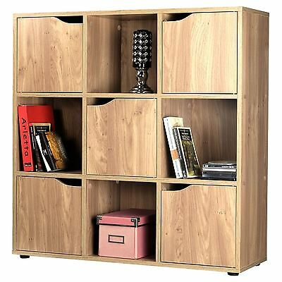 Oak Effect Wooden Storage Unit Display Shelving Bookcase Shelf  9 Cube 5 Door