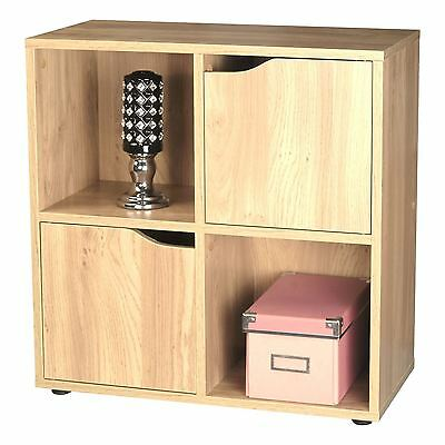 Oak Effect Wooden Storage Unit Display Shelving Bookcase Shelf  4 Cube 2 Door