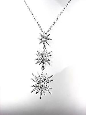 STUNNING 18kt White Gold Plated CZ Crystals STARBURST SNOWFLAKE Pendant Necklace