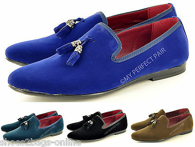 Mens Italian Style Faux Suede Slip On Tassel Loafers Moccasin Shoes UK Size 6-11
