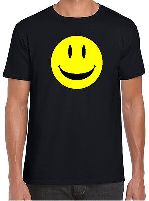Smiley Face Black Tshirt Funny Retro Acid House Rave Techno For Men Women & Kids