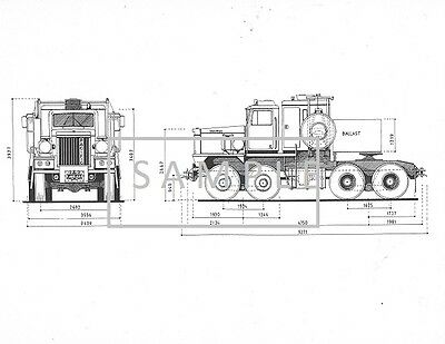 Line Drawing - Pacific Truck & Trailer twin steer. heavy haul, lowboy, Canada.