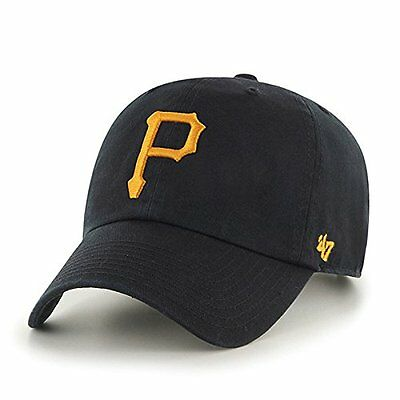 Pittsburgh Pirates 47 Brand Clean Up Strap Adjustable On Field Black Hat Cap MLB