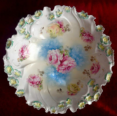 RS Prussia Salad Bowl, Scarce Mold 57, Pink/Yellow Roses, Blue Shadow flowers.