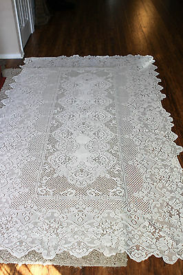 Vintage Lace Pattern Fabric Table Cloth LARGE LQQK!