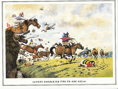 Thelwell horse racing steeple chase humorous vintage print countryside