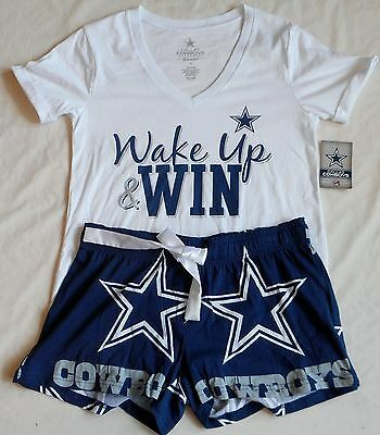 Dallas Cowboys Women's Sleep Lounge Set T Shirt Shorts Pajamas S M L Xl Nwt Blue