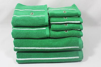 Lacoste Green White Stripe Eight Piece Bathroom Towel Set 100 Cotton New