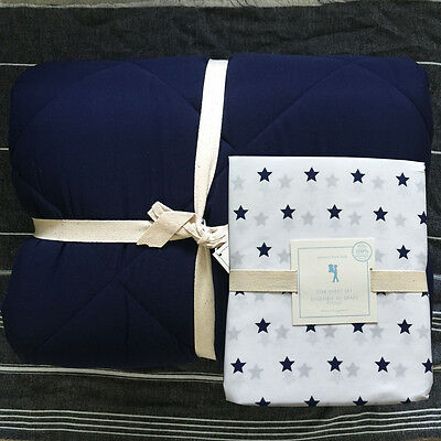 new Pottery Barn Kids Cozy Comforter quilt and star sheet set twin navy 4pc