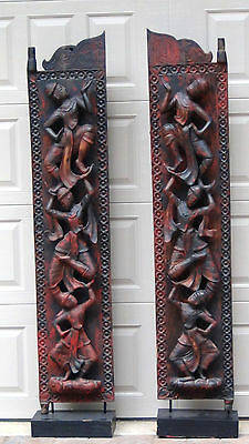 PAIR ANTIQUE 18c TIBET RELIEF CARVED TEAK WOOD DOORS W/OPPOSING DANCERS ON STAND