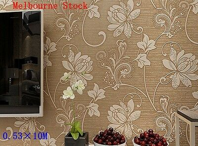0.53×10M 3D Modern Non-Woven Flocking Damask Embossed Wallpaper Wall Paper Rolls