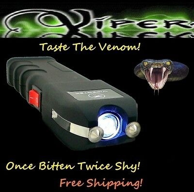 ViperTek Stun Gun 50 BV Rechargeable Police LED Flash Light + Case