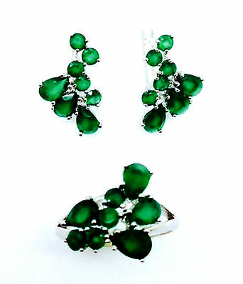 Aaa Natural Green Agate Sterling Silver 925 Set