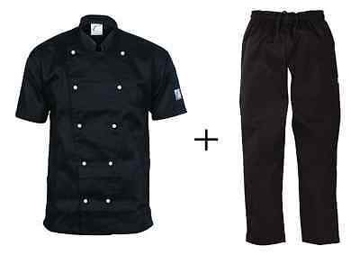 Chef Jacket Black Short Sleeve DNC Trad + Black Elastic Drawstring Pants DNC