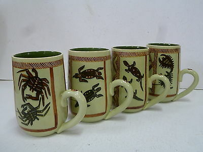 Four Signed Martin Boyd Mugs With Aboriginal Designs / Australian Pottery