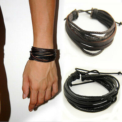 Leather Braided Handmade Men Boys Surfer Wristband Bracelet Bangle Wrap Jewelry