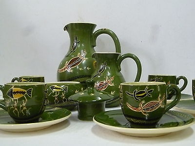 Signed Martin Boyd Coffee Set With Aboriginal Designs / Australian Pottery