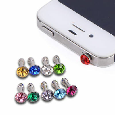 1x Bling Diamond Mixed Crystal 3.5mm Earphone Jack Anti Dust Plug Cap Stop