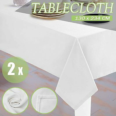 2xTable Cloth Rectangle Tablecloth Wedding White Banquet Party Trestle 130x234cm